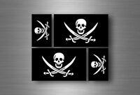 4x aufkleber sticker fahne flagge pirat piraten totenkopf skull jack rackham r6