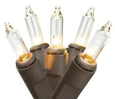 Light Set String Strand - Miniature Clear Bulbs - 20 Ct - Brown Cord - Christmas