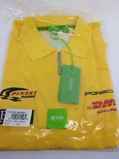 Hugo Boss Penske Porsche  DHL Yellow Pique Shirt Indy Racing Mens Large NWT