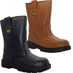 Mens Leather Rigger Safety Boots Steel Toe Cap Fur Lined Pull On Work Boots Shoe