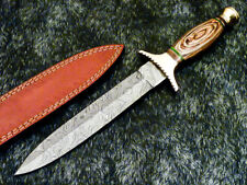 """Authentic HAND FORGED DAMASCUS 14.50"""" DAGGER KNIFE - HARD WOOD HANDLE - WD-7639"""