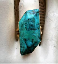 Vintage 14K Yellow Gold HUGE Turquoise Cocktail Dinner Statement RING 11.3 grams
