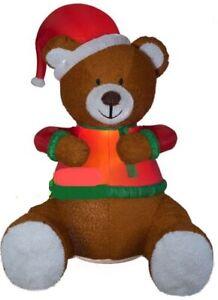 CHRISTMAS SANTA ANIMATED HUG TEDDY BEAR MIXED MEDIA  AIRBLOWN INFLATABLE 8.5 FT