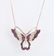 BUTTERFLY RUBY ROSE GOLD COLORED OVER .925 STERLING SILVER NECKLACE #60388