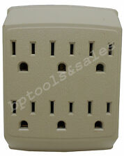 New 6 Way Plug Wall Outlet Power Strip Socket Grounded Beige Tan Splitter