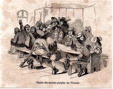 GRAVURE DE 1838  --  ORGIES DES ANCIENS PEUPLES DU VIVARAIS   3L617    ARDECHE