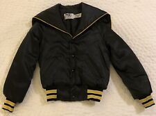 VTG girls SIZE 6/8 black/gold satin letterman cheer VARSITY JACKET sailor collar