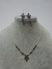 Past Times Marcasite & Amethyst Necklace & Earrings Set Sterling Silver