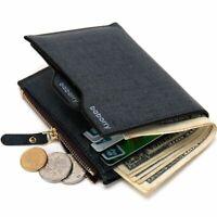 Zipper Fashion Vintage Men's Purse Bifold ID Card Holder Leather Wallet