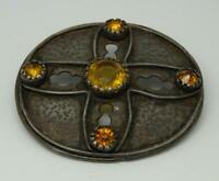 Antique Sterling Silver Arts & Crafts Round Yellow Paste Set Brooch c1900