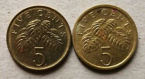 Singapore 2 pcs (1988 & 2005) 2nd Series 5 cents coin