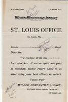 U.S. Wilber Mercantile Agency St. Louis Office 1913 Returned  invoice Ref 40458