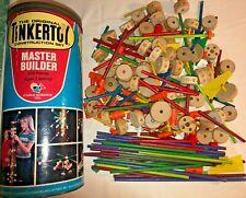 Lot Of Vintage Master Builder Original Tinkertoy Construction Set