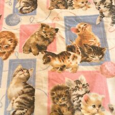 Vintage Blanket Cats Kittens Playing with Balls of Yarn Pink Blue 72 x 90
