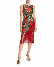 Dolce & Gabbana SS19 $3000 Red Geranium Print Silk Fringed Dress NWT IT40/UK8