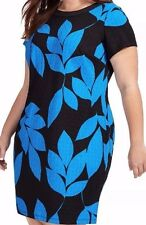 London Times Patterned Stretch Jersey Shift Dress In Blue Leaf Print SZ 18W