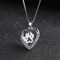 Cristal Collar Colgante De La Pata Del Corazón De Plata Con Cadena Larga