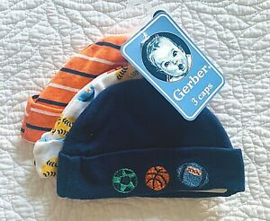 NWT Gerber Striped, Sports Balls & Embroidered Balls Cuffed Caps 3pc Set, NB