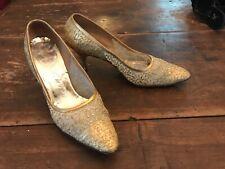Vintage 1950s 60's Delman Gold Illusion Brocade High Heel Shoes 7B