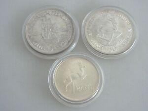 Konvolut 3 alte Silbermünzen Südafrika Fundgrube K3665
