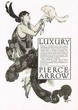 1917 Original Vintage Pierce Arrow Car Company Lady Fashion Monkey Art Print Ad