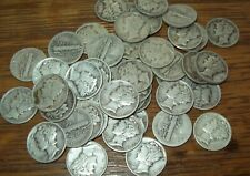 Roll of 50 Mercury Dimes $5 Face Value 90% Silver Coins Mixed Dates