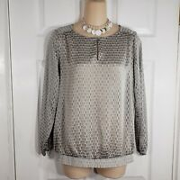 LIMITED Size XS Gray KEYHOLE Button Long Sleeve Shirt Top Blouse Sheer Womens