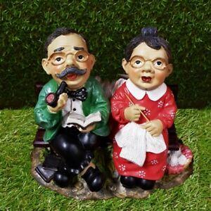 Gartenfigur Opa und Oma auf einer Gartenbank Parkbank Haus Und Garten Deko #3392