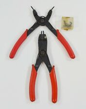 """Pair of Snap Ring Pliers Internal External w/ Spare Extra Tips Red Handles 7"""""""