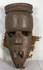 Vintage African Hand Carved Wood Mask With Teeth