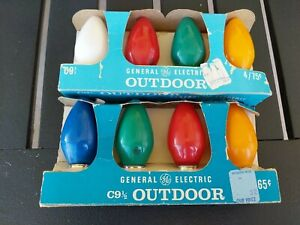 Lot of 8 Vintage GE C9 1/2 Outdoor Bulbs/Lights Tested