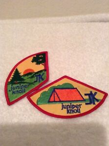 2 Juniper Knoll JK Girl Scouts GS Scouting Camping Embroidered Patch Badges 1980