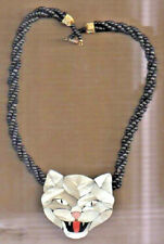 Mother Of Pearl Cats Face Necklace Vintage, But Virgin