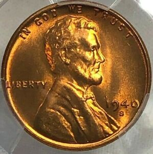 1940 S PCGS MS66 RD Lincoln Wheat Cent 1c ~ Cherry Red Lustrous Better Date Gem