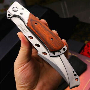 PEGASI Stainless Steel Folding knife wood handle Swallowtail Hunting Knives