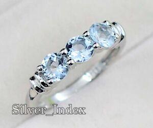 925 Sterling Silver 5MM Round Natural Aquamarine Gemstone Wedding Ring For Women
