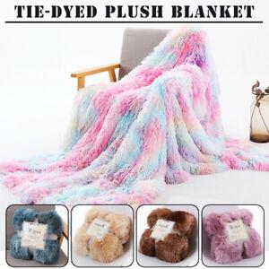 Nordic Rainbow Fluffy Shaggy Fur Blanket Soft Warm Sofa Throw Bedspread BedCover