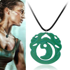 2018 Movie Tomb Raider Lara Croft Cosplay Necklace Green Metal Pendant Accessory