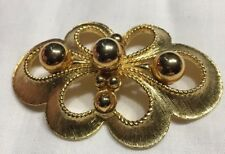 Ball Bead Detail Pin 2 3/4� Vtg 80s Mixed Finish GoldTone Scrollwork