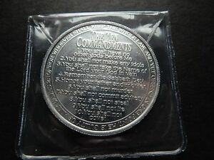 x1 Ten (10) Commandments Coin Minted (US Silver Dollar Size) 39mm UNC Alloy USA