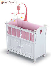 Baby Wooden Basket Doll Crib Mobile W/Cabinet Pink Bedding Plays Lullaby Tune