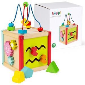 boppi Tabletop Wooden Toy Baby Activity Cube Centre Shape Sorter Child Bead Maze