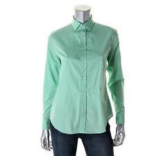 $365! NWT Ralph Lauren BLACK LABEL Green Button Down Cotton Top Shirt Blouse 2