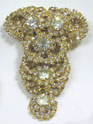 Vintage Jewelry Amazing Alice CAVINESS Huge Brooch Bright Rhinestones Goldtone