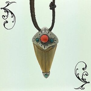 Shark Tooth Fossil Silver Pendant Turquoise Gemstone Red Coral, Amulet SOA