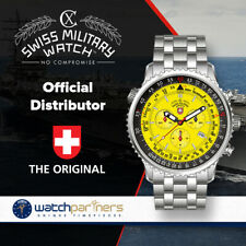 CX Swiss Military Thunderbolt Chrono Watch 44mm SS Case/Bracelet 20ATM Yell Dial