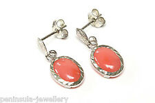 9ct White Gold Coral Drop earrings Made in UK Gift Boxed