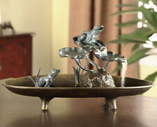 A Day in the Life of Frogs, Frog Couple on Lilly Pads Tabletop Desk Fountain