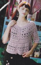 Crochet Pattern ~ LADIES OPEN WORK CARDIGAN Sweater Top ~ Instructions