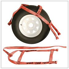 Two (2x) Red Demco Kar Kaddy Tow Dolly Straps Rugged Weave Axle w/ Loops